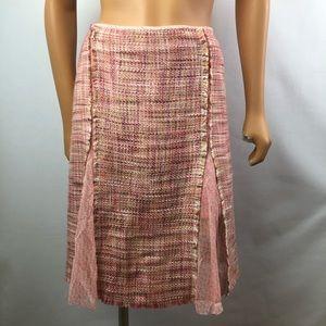 Liz Claiborne pink tweed silk pleats skirt Sz 10